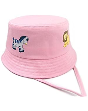 Unisex Kids Bucket Brim Sun Hat Breathable Cotton Fisherman Hats with Adjustable Lovely Sun Protection Caps