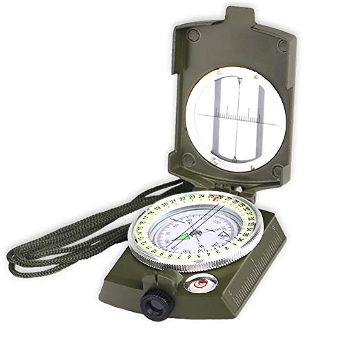 Costin Multifunctional Compass, All Metal Military Waterproof High Accuracy Compass with Sighting Clinometer for Outdoor Activities, Army Green by Costin