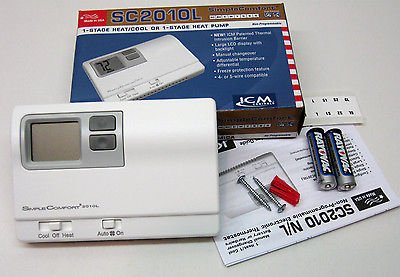 ICM Controls SC2010L Thermostat, 1-Stage Heat/Cool or
