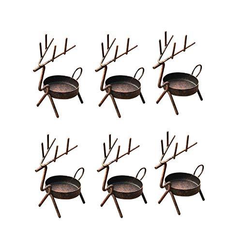- smtyle Reindeer Tea Light Candle Holders Vintage for Votive with Metal Set of 6 Best for Home Decor Red Copper