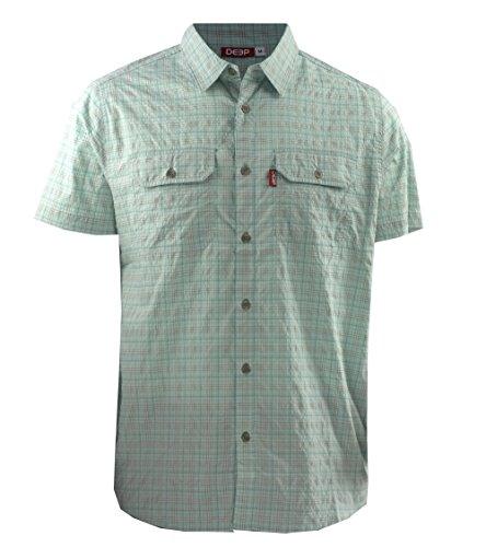 Deep Ocean Men's Button Down Short Sleeve Plaid Shirt, Light Blue, Large