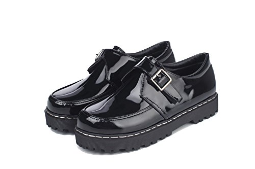AllhqFashion Womens Microfiber Low-Heels Buckle Solid Pumps-Shoes Black ZKhASqX
