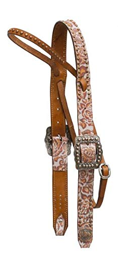 Showman Argentina Cow Leather Belt Style Headstall with Copper Studded brow Band and Engraved Copper Barrel Racer ()