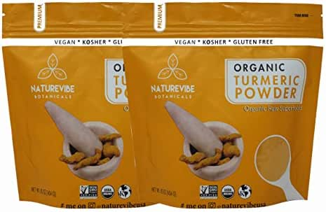 Organic Turmeric Root Powder (2lb) by Naturevibe Botanicals, (2 Pack of 1lbs each) | Gluten Free & Non-GMO Verified | Contains Curcumin [Packaging May Vary]