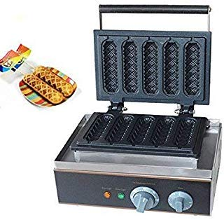 ALDKitchen Lolly Waffle Maker Crispy Commercial Lolly Maker Non-Stick Sausage Hot Dog Machine with Grid, Lolly Waffle Maker Lolly Waffle Maker (Five HotDogs)