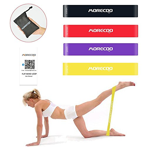 Resistance Loop Bands MORECOO Exercise Bands for legs Home& Gym Workout Bands for Yoga Fitness Stretching and Physical Therapy Includes Exercise Guides&Handy Carry Bag (Set of 4 pcs)