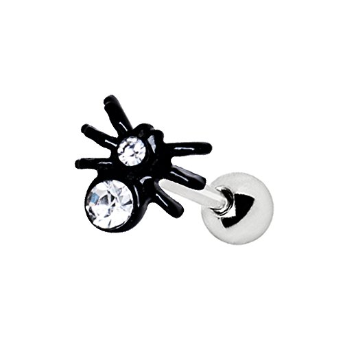 Amelia Fashion 16 Gauge Jeweled Spider Tragus/Cartilage Earring Stud 316L Surgical Steel (Sold Individually) (Black & Clear CZ)]()