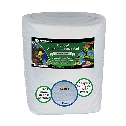 """Aquatic Experts Aquarium Filter Media Roll - 12"""" by 72"""" by 3/8 to 1/2 inch Thick - Premium True Dual Density Aquarium Filter Pad for Crystal Clear Water - Custom Made in USA"""