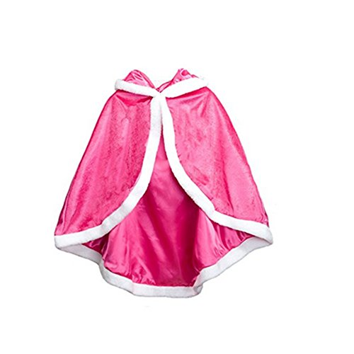 Labellevie Girl's Cape, Princess Style Long Cloak Winter Thicken Warm Cape Poncho Hoodie Rose Red Suitable for the Height of 110cm