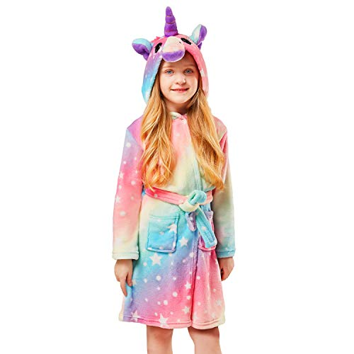 Soft Unicorn Girl Bathrobe Hoodie, Unisex Hooded Gift for Girl and Boys