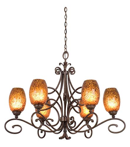 (Six Light Antique Copper Champagne Small Oval Glass Up Chandelier Antique Copper )