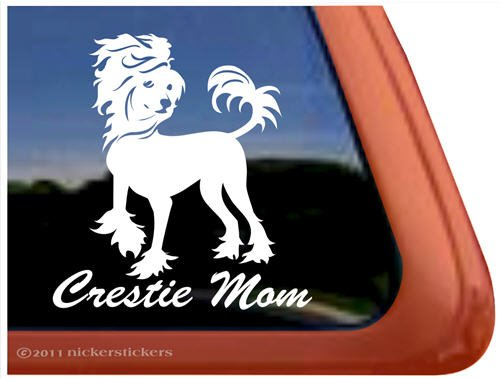 Chinese Crested Mom Dog Vinyl Window Decal Sticker
