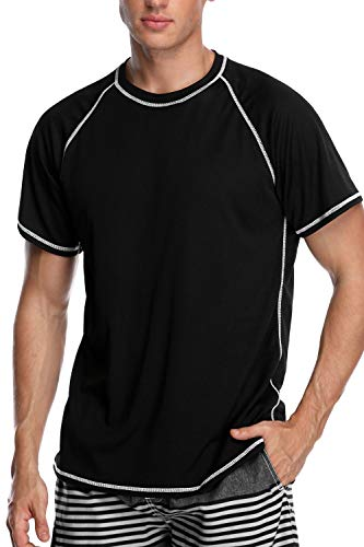 V FOR CITY Mens Rash Guard Swim Shirt Loose Fit Short Sleeve Sun Protection Swim Tee