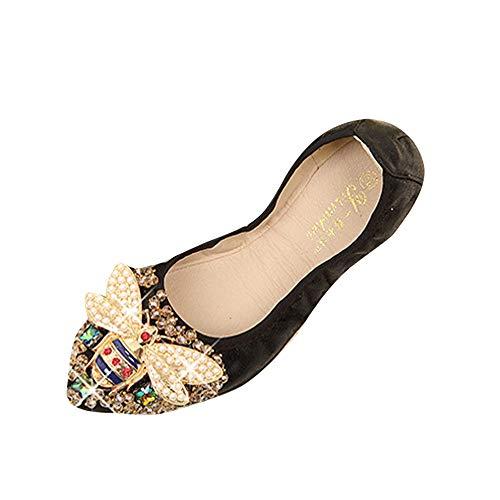 BOLUOYI Halloween Maternity Shirts for Women Woman Plus Size Crystal Flat Shoes Comfortable Rhinestone Soft Bee Shoes Black 40 ()