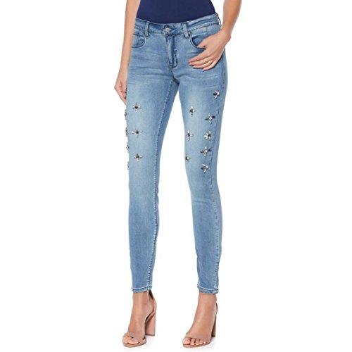 GIULIANA G Jeweled Skinny Jean Jeweled Embellishments Denim Medium L New (Jeweled Womens Jeans)