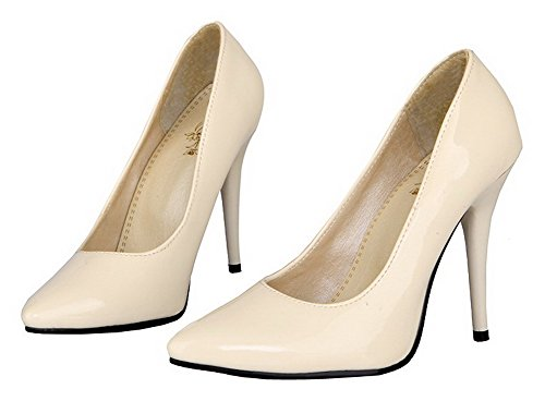 Beige Pointed High Solid AmoonyFashion Pumps Toe Patent Heels Leather Women's Shoes 7wnvSqU