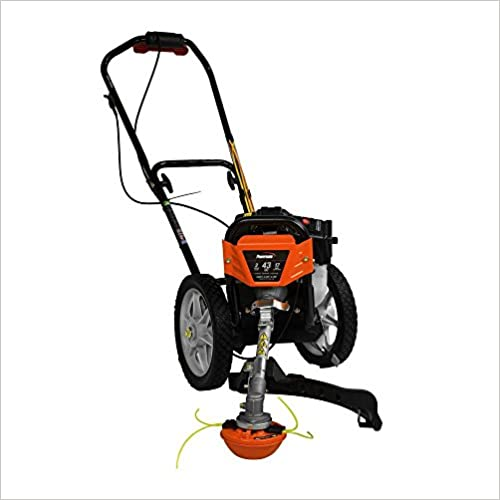 ".Powermate. 17 in. 43cc 2-Stroke Engine Walk Behind Wheeled Multi String Trimmer Mower with Heavy Duty 12"" ball Bearing Wheels, 35% More Torque Vs. seits Held String Trimmers"