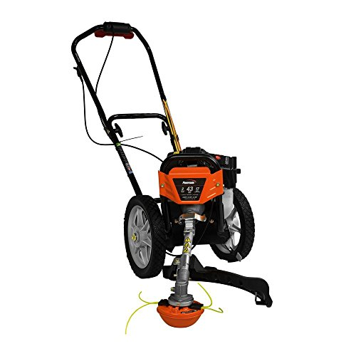 .Powermate. 17 in. 43cc 2-Stroke Engine Walk Behind Wheeled Multi String Trimmer Mower with Heavy Duty 12 ball Bearing Wheels, 35% More Torque Vs. Hand Held String Trimmers