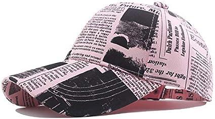 WAZHX Novedad Retro Periódico Patrón De Letras Gorras Gorras De BéisbolparaHombres Y MujeresSombreros De Otoño para Mujeres
