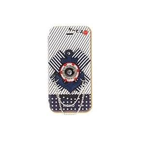 GONGXI-Versión coreana de tela Serie Flores Estilo Azul Colores Navy Icono PU cuero completo Casos cuerpo para iPhone 5/5S