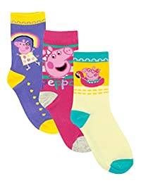 Peppa Pig Girls' Peppa Socks Pack of 3