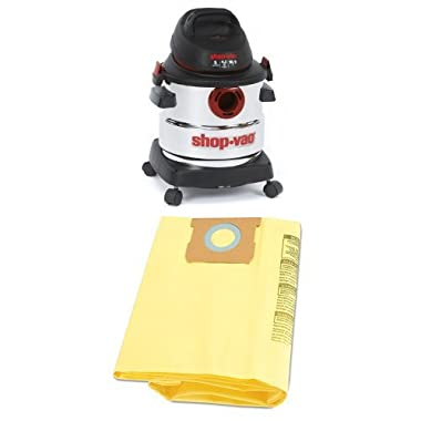 Shop-Vac 5986000 5-Gallon 4.5 Peak HP Stainless Steel Wet Dry Vacuum with 2-Pack of Disposable Filter Bags