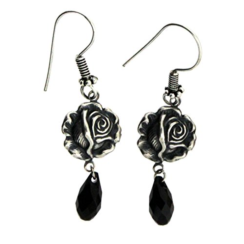 Victorian Rosebud Earrings Silver Plated with BlackSwarvoski Crystals - Rose Tyler Costume