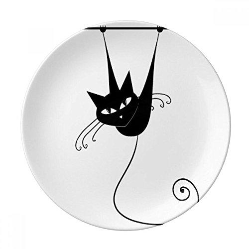 Climb Rail Black Cat Halloween Animal Dessert Plate Decorative Porcelain 8 inch Dinner Home
