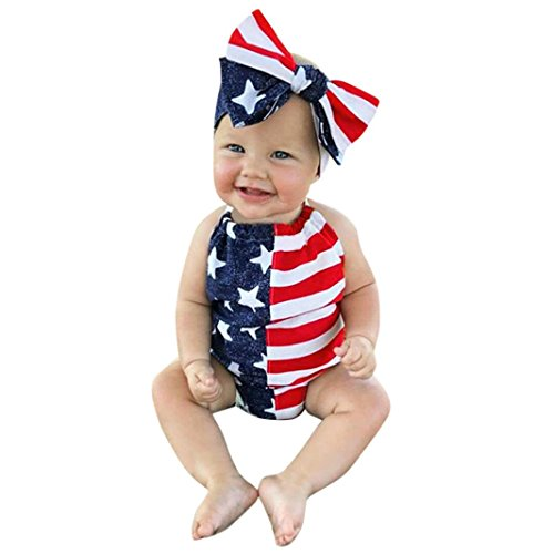 Price comparison product image Infant Baby Girls Boys Summer Outfits Clothes Cuekondy 4th Of July 2018 Star Romper+Headband+Hat 2Pcs Set for 6-24 Months (Dark Blue, 6M)