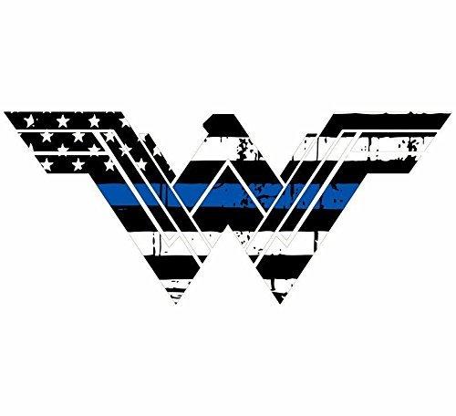 Evan Decals Thin Blue Line Tattered Flag Style Wonder Woman Window Decal Vinyl Sticker 4