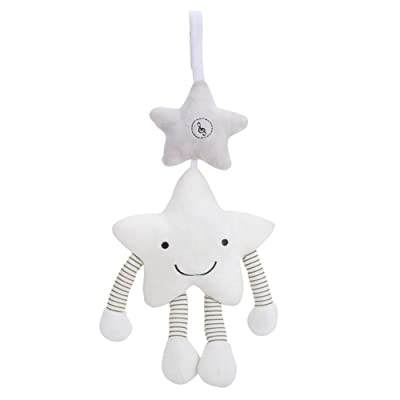 HUIFEIDEYU Baby Stroller Toys, White Stars Music Wind Bell Pendant Hanging Bed Crib Wind Chimes for Baby Newborn Bed Accompanying Toys: Toys & Games
