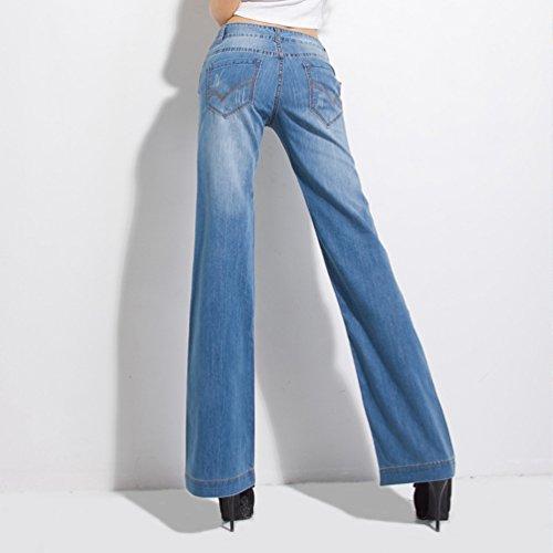 Jeans Flared Donna Grossa Allungamento Pantaloni Denim Lunghi Tookang Casuale Senza Larga Pantalone Gamba Azzurro Taglia Bootcut Y8wdUgq