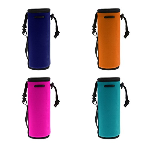Baosity 4Pcs Protable Neoprene Insulated Water Drink Bottle Cooler Carrier Cover Sleeve Tote Bag Pouch Holder Strap Travel Cycling Climbing Sports by Baosity