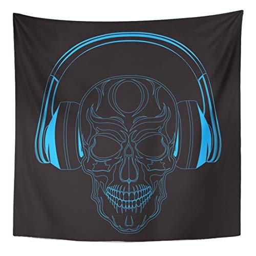Semtomn Tapestry Wall Hanging Home Art Audio Skull Headphones Bone Dance Danger Dead Death Earphone 60