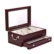 American Chest The Captain, Glass Top Watch Storage Chest with Separate Jewelers Drawer