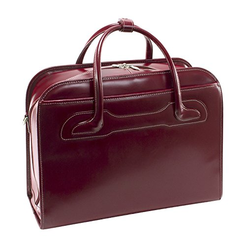 McKleinUSA Willowbrook [Personalized Initials Embossing] Leather Patented Detachable -Wheeled Ladies' Laptop Briefcase in Red by McKlein (Image #2)
