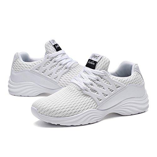 BRKVALIT Men Trainers Athletic Mesh Running Walk Gym Sport Shoes White HMilD
