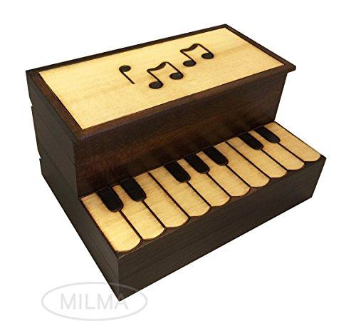 (UPRIGHT PIANO BOX Polish Handmade Linden Wood Music Keepsake Piano Secret Jewelry Box)