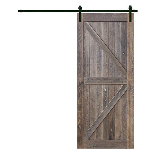 Barn Oak Antique Plank (Heavy Duty Sturdy Sliding Barn Door Hardware Kit 6.6ft/7.2ft w/DIY Solid Interior Outdoor Barn Knotty Wood Painted Door Slab 36/42inch x 84inch | Super Smoothly | Quietly | Simple and Easy to Install)
