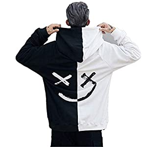 Star_wuvi Men's Hoodie BE Happy Smiley Print Color Block Hooded Pullover Tops Winter Spring Plus Size Cozy Sweatshirt,S~5XL