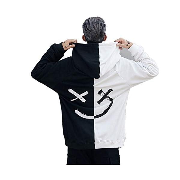 Star_wuvi Men's Hoodie BE Happy Smiley Print Color Block Hooded Pullover Tops Winter Spring Plus Size Cozy Sweatshirt,S~5XL