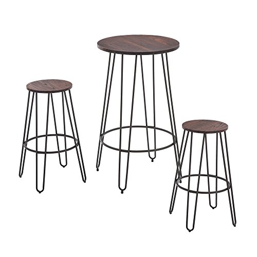 NOBPEINT 3 Piece Bar Table Set 2 Stools Bistro Pub Kitchen Dining Furniture, Rustic Brown by NOBPEINT