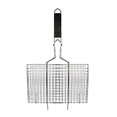 AccMart Nonstick Fish Grilling Basket Folding for Roast BBQ Barbecue with Wood Handle