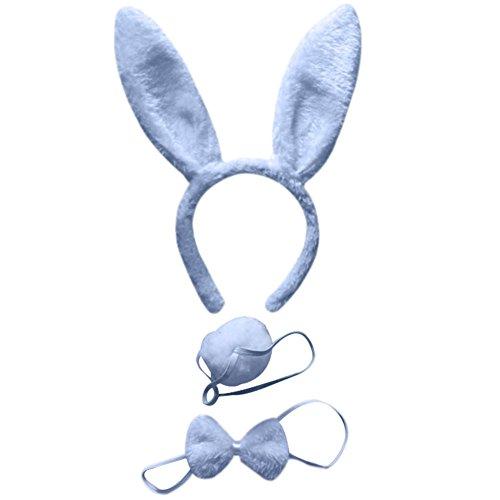 BAOBAO 3pcs Kids Rabbit Bunny Ears Headband Bow Ties Tail Set Party Cosplay Costume -