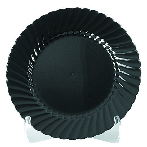 WNA CW75180BK Classicware Plastic Plates, 7 1/2 Inches, Black, Round (Case of 180)