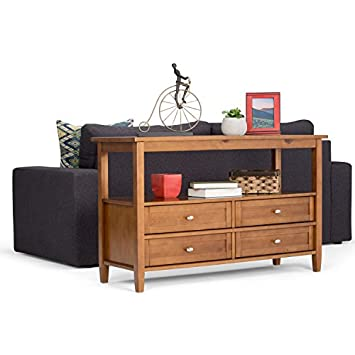 Simpli Home AXWSH007 Warm Shaker Solid Wood 48 inch wide Rustic Console Sofa Table in Honey Brown