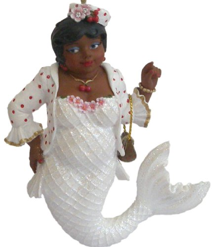 December Diamonds Cherry Blossom African American Gospel Singer Church Going Mermaid Ornament.