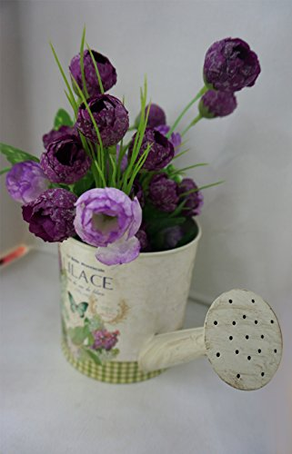 Watering can shaped planter, shabby chic, with Elegant Floral & butterfly design