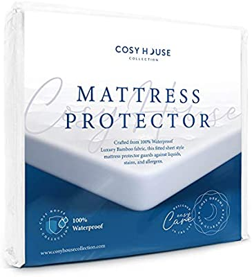 Amazon Com Full Size Luxury Bamboo Hypoallergenic Waterproof Mattress Protector Breathable Noiseless Fitted Bed Cover Stays Cool Protection Against Stains Fluids Dust Mites Allergens Bacteria Home Kitchen