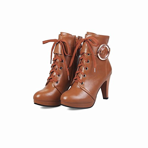 Mee Shoes Women's Outside Lace up Zip High Heel Short Boots Brown RTl5ZGgom